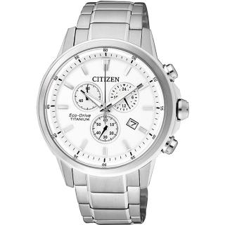 【CITIZEN】ECO-Drive 鈦金屬計時腕錶-銀/42mm(AT2340-81A)