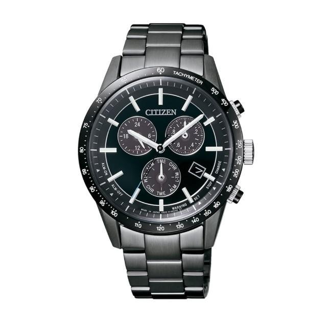 【CITIZEN】光動能黑鋼三眼時尚腕錶(周年限定/BL5495-56L)