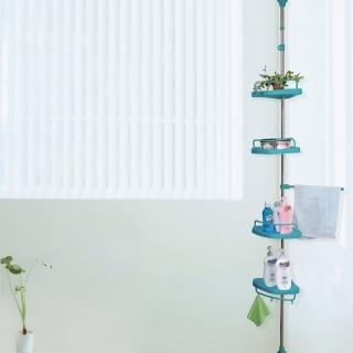 【LIFECODE】頂天立地浴室置物架 4置物盤+1毛巾桿(蒂芬妮藍)