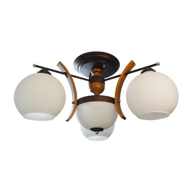 【華燈市】紅古銅球型3+2半吸頂燈(居家原木設計款)