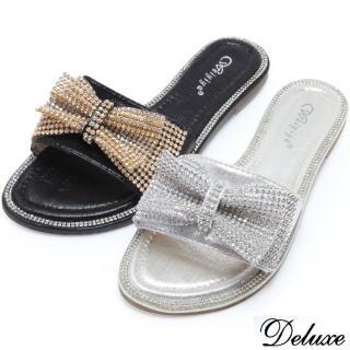 【Deluxe】亮麗貴氣水鑽蝴蝶結拖鞋(黑★銀)