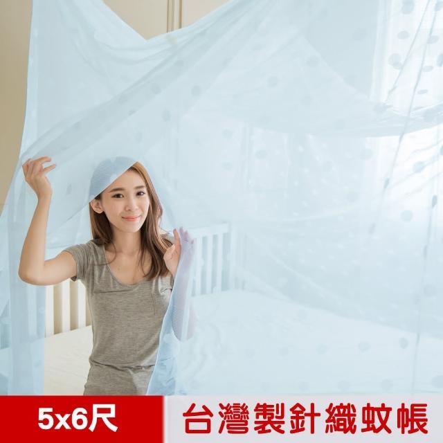 【凱蕾絲帝】100%台灣製造-大空間專用雙人5尺針織蚊帳-開單門(粉藍)/