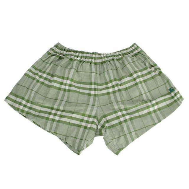 【BURBERRY】經典格紋棉質平口四角內著(綠色)