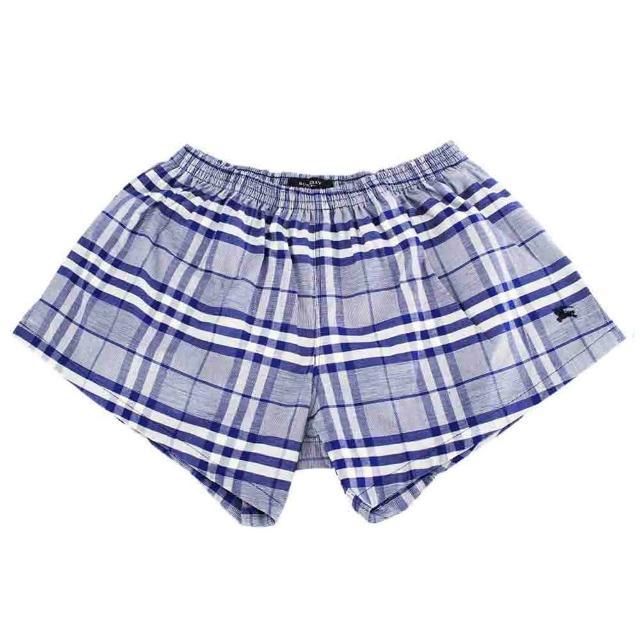 【BURBERRY】經典格紋棉質平口四角內著(藍色)