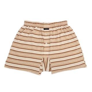 【BURBERRY 巴寶莉】條紋貼身棉質平口居家褲(駝色)