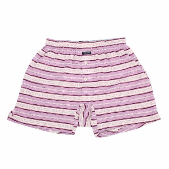 【BURBERRY】復古條紋合身棉質平口四角內著(紫色)