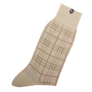 【BURBERRY 巴寶莉】經典格紋戰馬LOGO刺繡休閒襪(駝色)