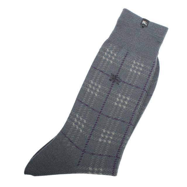 【BURBERRY 巴寶莉】經典格紋戰馬LOGO刺繡休閒襪(灰色)