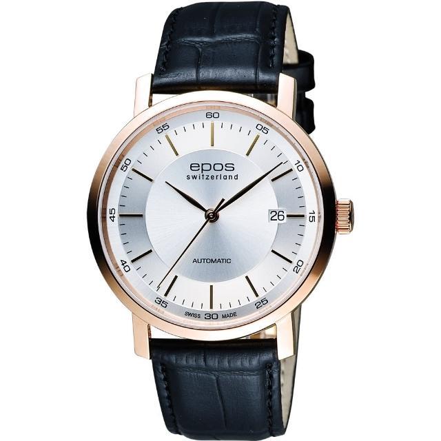 【EPOS】Originale原創系列 夢想家機械腕錶-銀x玫塊金框x黑/39mm(3387.152.24.18.15FB)