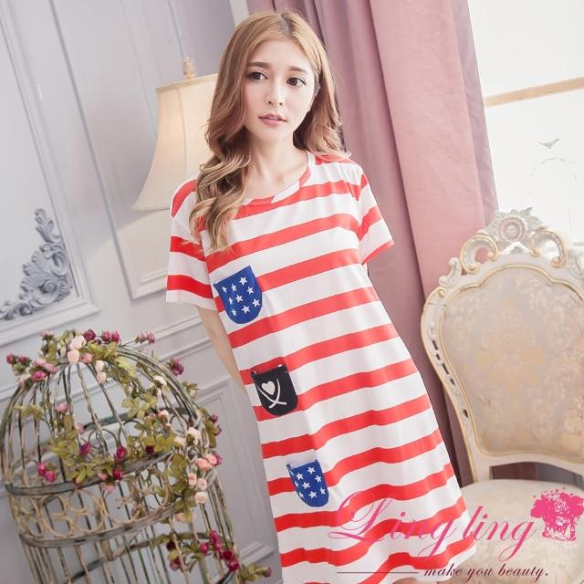 【lingling日系】PA1607全尺碼-條紋口袋海洋之星洋裝睡衣(悠閒紅)