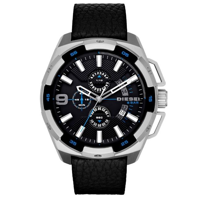【DIESEL】數度空間三眼計時時尚男錶-藍黑x黑錶帶(DZ4392)