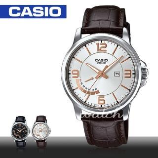 【CASIO 卡西歐】簡單時尚_個性皮革指針型男錶(MTP-E124L)