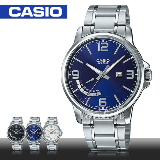 【CASIO 卡西歐】簡單時尚 不鏽鋼藍面指針男錶(MTP-E124D)