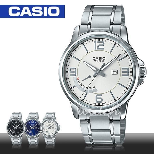 【CASIO 卡西歐】簡單時尚 不鏽鋼白面指針男錶(MTP-E124D)