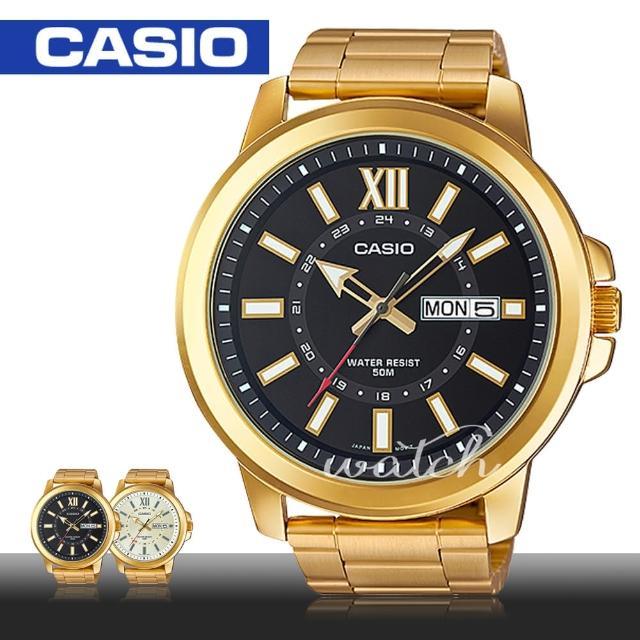 【CASIO 卡西歐】金色大方 送禮推薦 時尚不鏽鋼石英男錶(MTP-X100G)