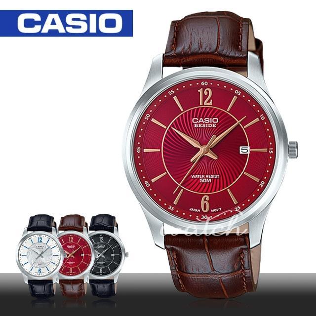 【CASIO 卡西歐】人氣首選 簡約皮革指針型男錶(BEM-151L)
