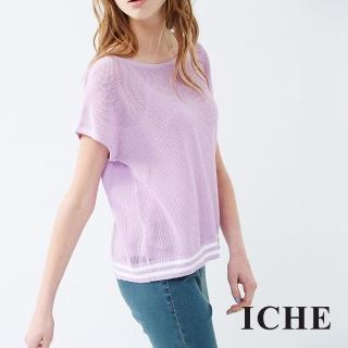 【ICHE 衣哲】配色橫條紋針織上衣 兩色