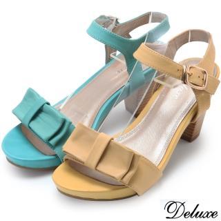【Deluxe】全真皮質感蝴蝶結粗跟涼鞋(綠★黃)