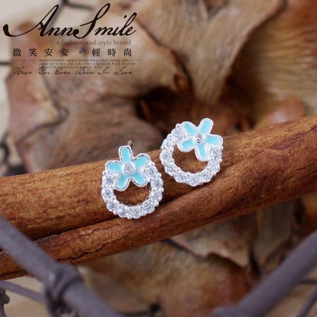 【微笑安安】淡藍晶鑽花朵小圈墜925純銀耳環