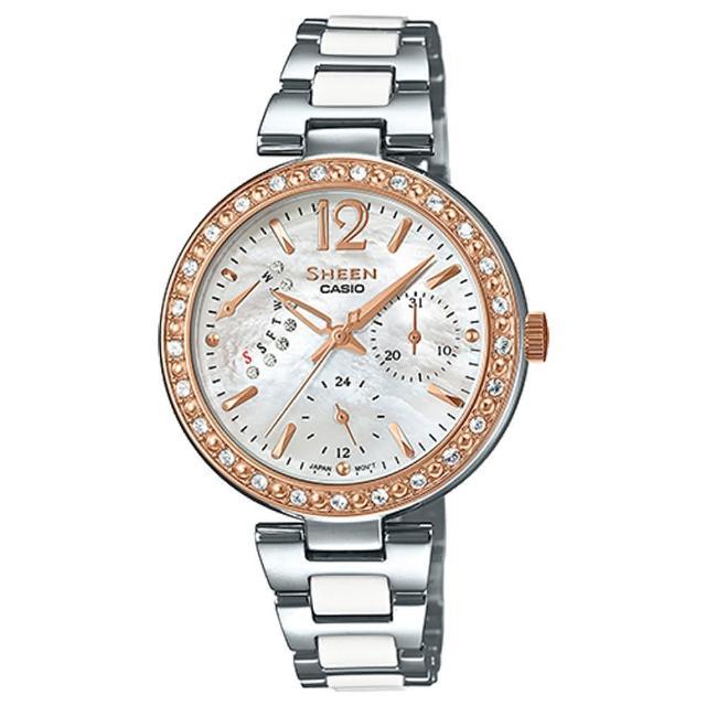 【CASIO 卡西歐 SHEEN 系列】優雅氣質晶鑽錶款 三眼石英不鏽鋼女錶(SHE-3042SG)