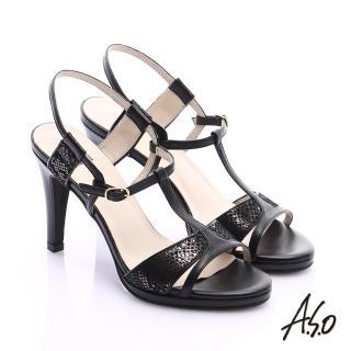 【A.S.O】璀璨注目 金箔真皮T字帶高跟涼鞋(黑)