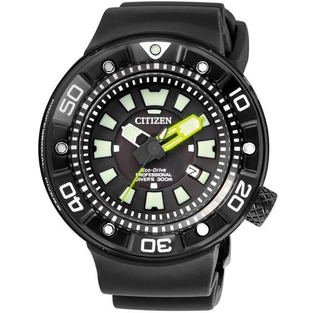 【CITIZEN】PROMASTER 光動能300米罐頭潛水錶   黑x黃針(BN0177-05E)