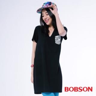 【BOBSON】女款V領口長版衣(黑26107-88)