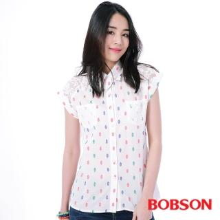 【BOBSON】女款搭配蕾絲布襯衫(白25133-81)