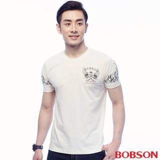 【BOBSON】男款印圖上衣(米白25047-81)