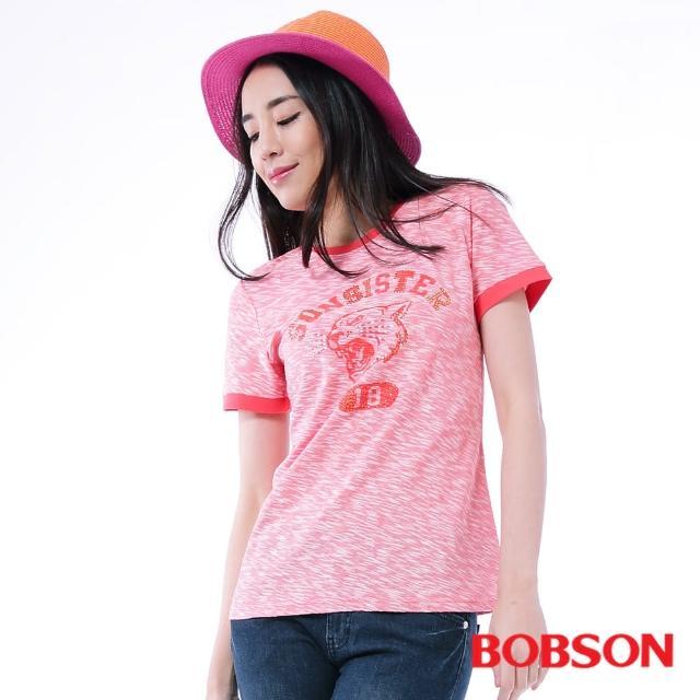 【BOBSON】女款金色鋁片上衣(桃紅24091-26)強檔特價