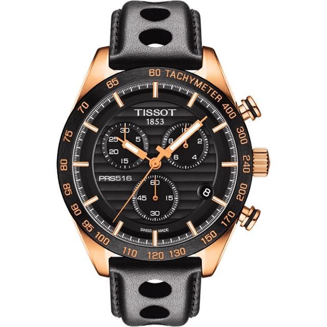 【TISSOT】PRS516 三眼計時腕錶-黑x玫塊金框/42mm(T1004173605100)
