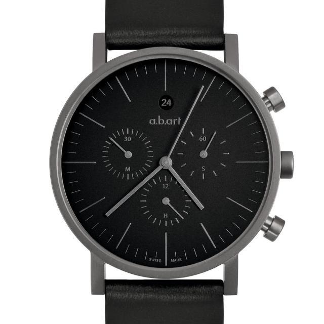 【a.b.art】OC 包浩斯極簡三眼計時碼錶-鐵灰/40.5mm(abart-OC202)