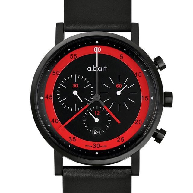 【a.b.art】OC 德式極簡之競速車隊三眼計時碼錶-黑紅/40.5mm(abart-OC450)