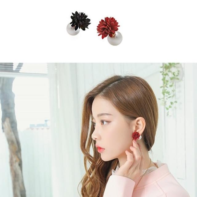 【梨花HaNA】韓國雙面十足綻放溫柔花卉珍珠耳環