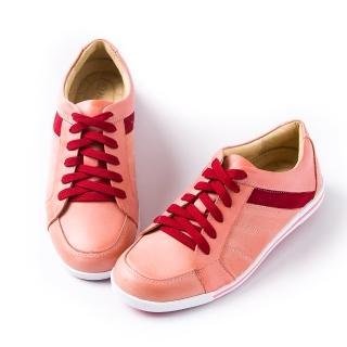 【ALAIN DELON】真皮綁帶女休閒鞋A75212(2色  棕色  粉色)