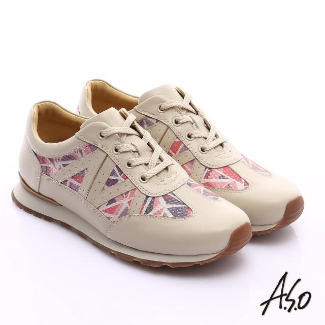 【A.S.O】輕量抗震 牛皮拼接幾何奈米綁帶休閒鞋(米)