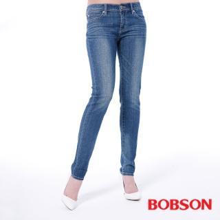 【BOBSON】女款低腰有機棉小直筒褲(藍8129-53)