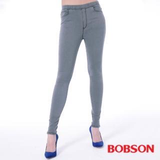 ~BOBSON~女款中腰強彈力鬆緊帶緊身褲 灰8135~87