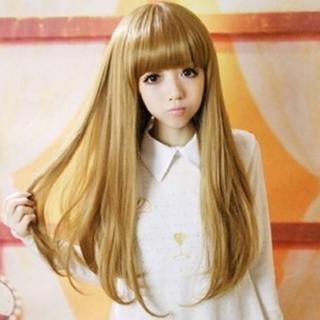 【米蘭精品】女假髮整頂假髮長假髮(直髮微彎齊瀏海氣質美髮用品穿搭配件3色69o16)