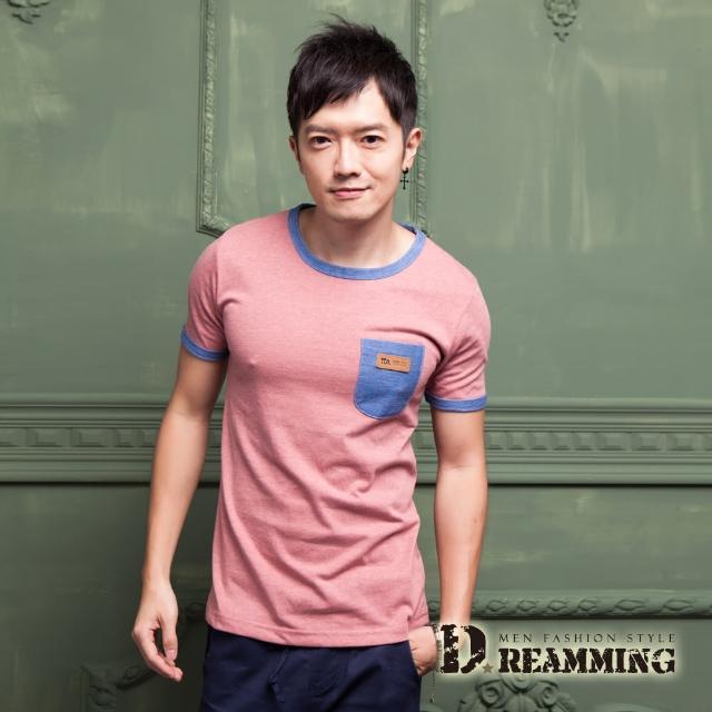 【Dreamming】韓系單寧皮革口袋圓領短T(共四色)