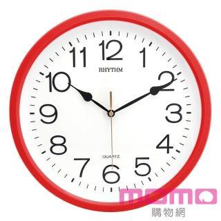 【RHYTHM日本麗聲】簡約時尚亮彩色系邊框超靜音掛鐘(玫瑰紅)