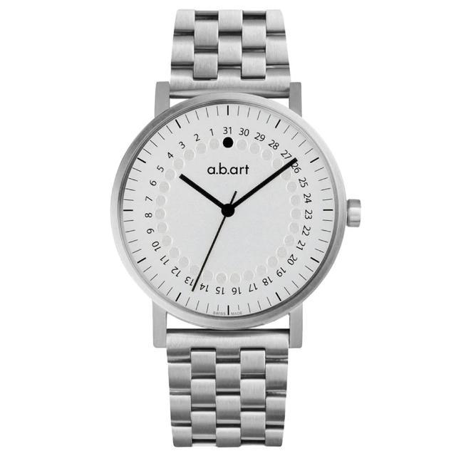 【a.b.art】O系列 經典日期圓盤跳點不鏽鋼帶錶-銀白/40.5mm(abart-O101SC)