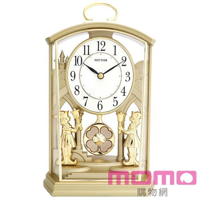 【RHYTHM日本麗聲】宮廷幸運草經典裝飾靜音座鐘(奢華素金)