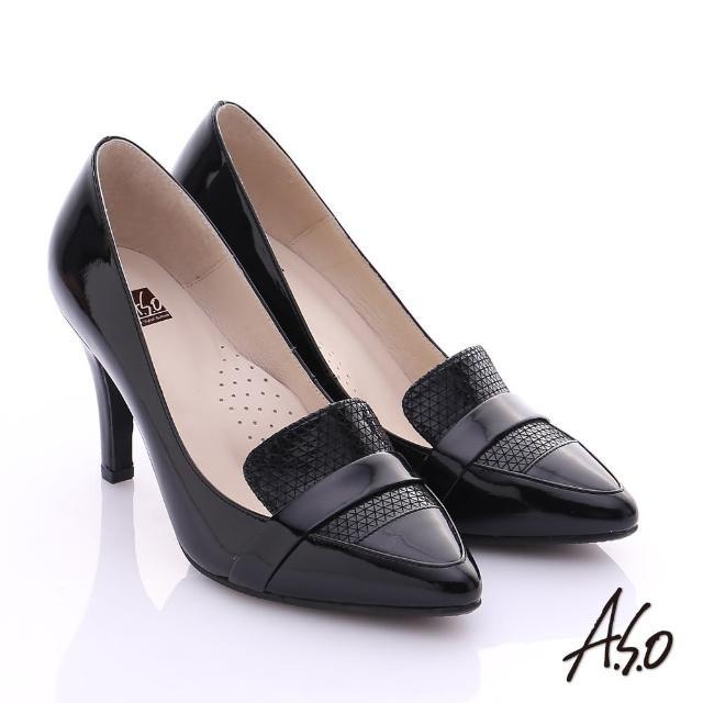 【A.S.O】復古女伶 真皮拼接樂福尖楦高跟鞋(黑)