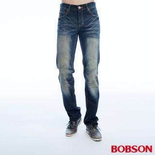 【BOBSON】男款立體壓摺直筒褲(藍1781-52)