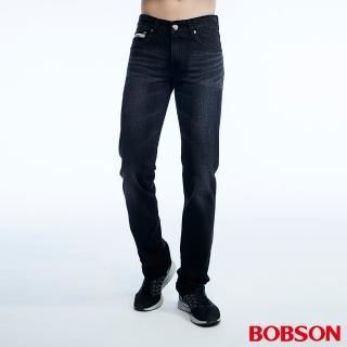 【BOBSON】男款低腰貓鬚刷白直筒褲(1802-87)