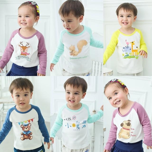 【baby童衣】大小童T恤 休閒上衣 舒適純棉撞色插肩袖自印圖案 50523(共8色)