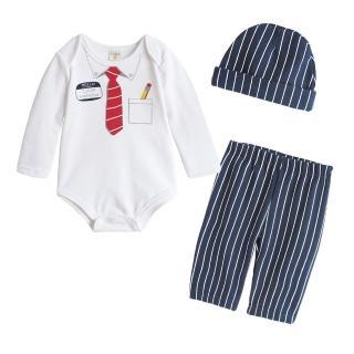 ~baby童衣~ 男童女童包屁衣 長褲 3件 套 套裝 37291 白色領帶款