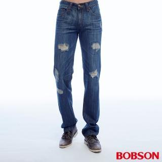 【BOBSON】男款低腰刷破直筒褲(1813-53)