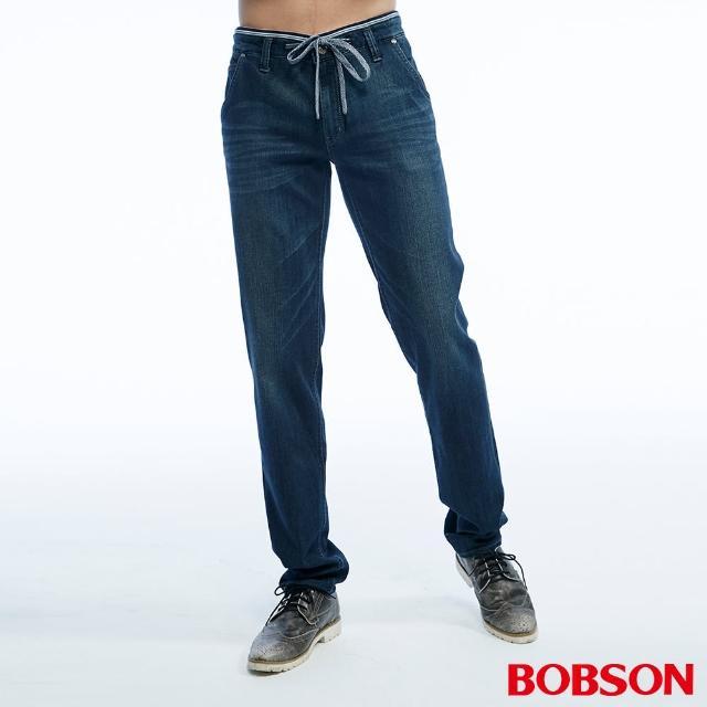 【BOBSON】男款低腰綁繩彈性直筒褲(1817-52)